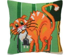 Kussen borduurpakket Cat Jokes - Collection d'Art   cda-5405