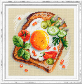 Borduurpakket Fried Eggs Toast - Chudo Igla    ci-120-092