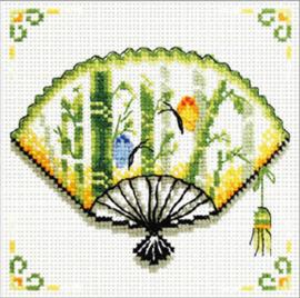 Voorbedrukt borduurpakket Bamboo Fan - Needleart World    nw-nc140-028