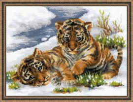 Borduurpakket Tiger Cubs in Snow - RIOLIS    ri-1564