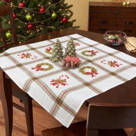 Tissu de Marie Borduurpakket voorbedrukt KERST tafelkleed 80x80cm