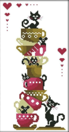 Cross Stitch / Black cats on the cups