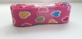 Bosje Biaisband met hartjes 20 mm / Hard roze met meerdere kleuren