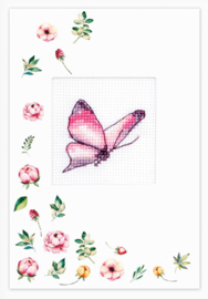 Borduurpakket Postcard - Butterfly Pink - Luca-S    ls-sp103