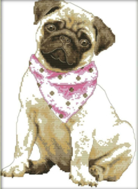 Cross Stitch / A dog with a red scarf