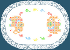 Colour print Doily 20 x 30 cm White Pre-stamped - Duftin    d-0985010983