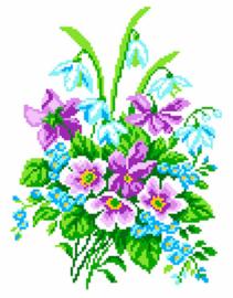 Voorbedrukt Aida Delicate Bouquet - Matryonin Posad    mp-0839