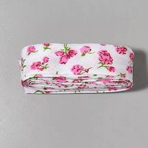 Bosje Biaisband met bloemen 20 mm / Roze met wit