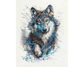 Borduurpakket Snow Splashes - Wolf - RTO    rto-m00805