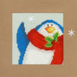 Borduurpakket Christmas Cards - Snowy Penguin - Bothy Threads    bt-xmas13