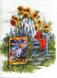 Borduurpakket Summer Garden Flag - Janlynn    jan-023-0615
