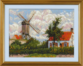 Borduurpakket Windmill at Knokke after C. Pissarro's Painting - RIOLIS