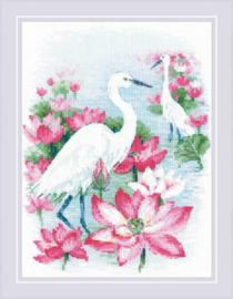 Borduurpakket Lotus Field - Herons - RIOLIS    ri-1868