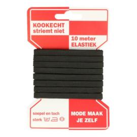 Rode kaart elastiek 6 mm / 10 Meter / zwart