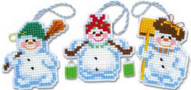 Borduurpakket Christmas Tree Decoration Snowmen - RIOLIS    ri-1681