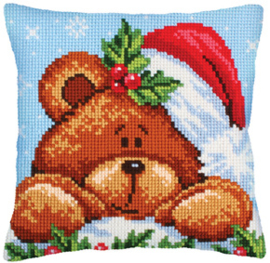 Kussen borduurpakket Christmas with a Teddy Bear - Collection d'Art    cda-5240