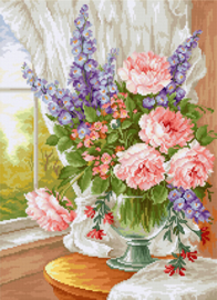 Borduurpakket Flowers at the Window - Luca-S    ls-bu4016