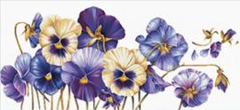 Voorbedrukt borduurpakket Purple Pansies - Needleart World    nw-nc840-073