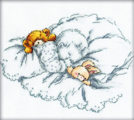 Borduurpakket Baby with Teddy and Rabbit - RTO    rto-m00159