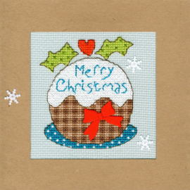 Borduurpakket Christmas Cards - Snowy Pudding - Bothy Threads    bt-xmas16