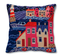 Kussen borduurpakket Night harbor - Collection d'Art    cda-5386