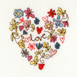Borduurpakket Kim Anderson - Sweet Heart Card - Bothy Threads    bt-xgc01