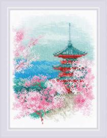 Borduurpakket Sakura - Pagoda - RIOLIS    ri-1743