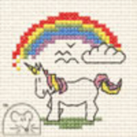 Borduurpakket Unicorn with Rainbow - Mouseloft    ml-004-p03
