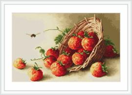 Borduurpakket Basket of strawberries - Luca-S    ls-b497