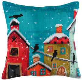 Kussen borduurpakket Winter Morning - Collection d'Art    cda-5350