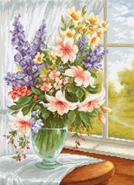 Borduurpakket Flowers at the Window - Luca-S    ls-bu4015