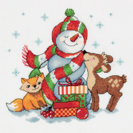 Borduurpakket Snowman with Gifts - PANNA    pan-08-0292
