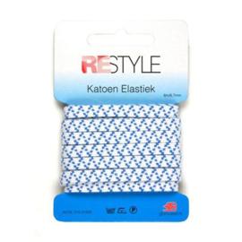 Sport elastiek 6,7 mm / 6 Meter / wit/blauw