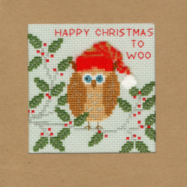Borduurpakket Christmas Cards - Xmas Owl - Bothy Threads    bt-xmas11