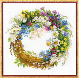 Borduurpakket Wreath with Bird Cherry - RIOLIS    ri-1536