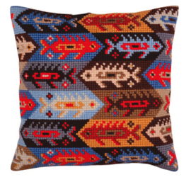 Kussen borduurpakket Ornament - fish - Collection d'Art    cda-5366