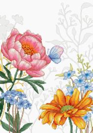 Borduurpakket Flowers and Butterfly - Luca-S    ls-bu4019