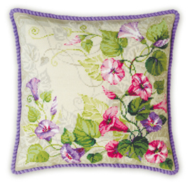 Borduurpakket Pastel Bindweed Cushion - RIOLIS    ri-1347
