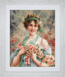Petit Point Borduurpakket The Girl with Roses - Luca-S    ls-g553