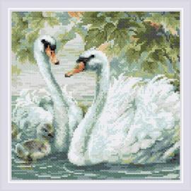 Diamond Mosaic White Swans - RIOLIS    ri-am0036