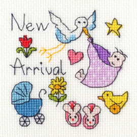 Borduurpakket June Armstrong - New Baby Card - Bothy Threads    bt-xgc06