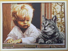Cross Stitch / The boy and cat