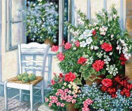 Borduurpakket Terrace with Flowers - Luca-S    ls-bu4017
