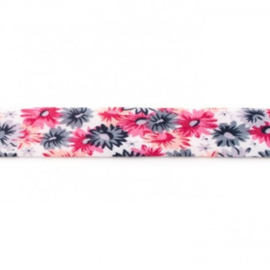 Bosje Biaisband met bloemen 20 mm / Antaciet grijs  - Helderroze