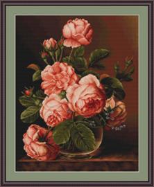 Petit Point Borduurpakket Vase of roses - Luca-S    ls-g488