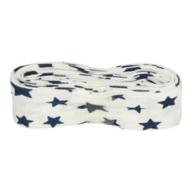 Bosje Biaisband met sterren 20 mm / wit met blauw