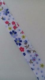 Biaisband wit met bloemmetjes / 20 mm