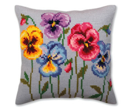 Kussen borduurpakket Pansies - Collection d'Art    cda-5383