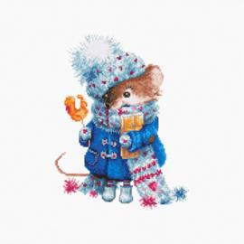 Borduurpakket Christmas mouse - Luca-S    ls-b1168