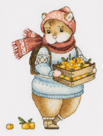 Borduurpakket Hamster and Mandarins - PANNA    pan-7137-j